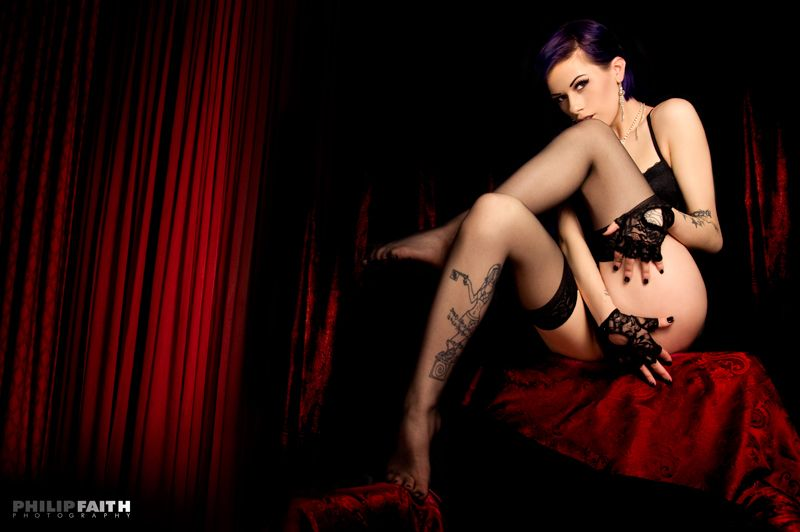 Sultry Vera, black stockings and lace glove